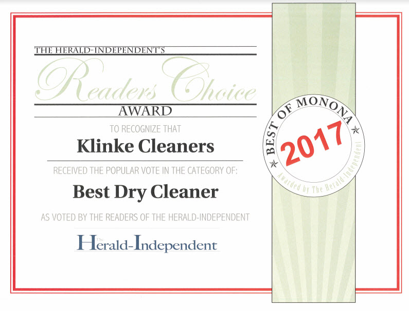 "Klinke Cleaners Voted ""Best Dry Cleaner in Monona"" 14 Years in a Row!"